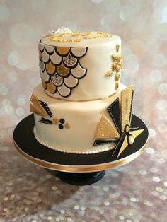 Art Deco Gold & Black  on Cake Central