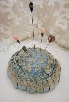 Antique French boudoir Hat Pins Cushion or wedding rings cushion light blue silk, ribbon & tatting lace