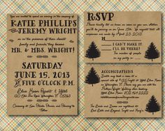 Rustic Adventure --- Rustic Wedding Invitation with RSVP card - Printed - Lake Wedding, Camp Wedding, Barn Wedding, Outdoor Wedding