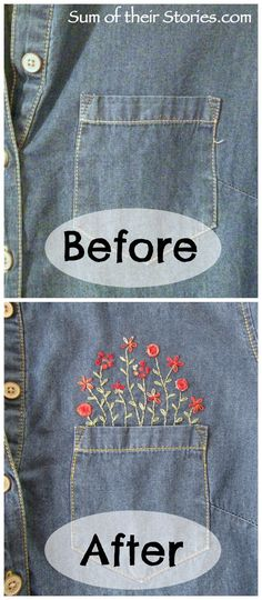 Give new life to a denim shirt with embroidery - shirt refashion - Sum of their Stories Embroidery On Clothes, Shirt Embroidery, Embroidered Clothes, Ribbon Embroidery, Cross Stitch Embroidery, Simple Embroidery, Embroidered Denim Shirt, Embroidery Letters, Embroidery Designs