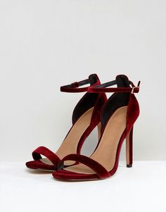 c686d3c4383d ASOS HANG TIME Wide Fit Barely There Heeled Sandals - Red Shoes Sandals