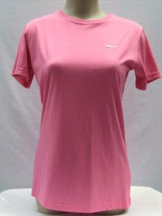 Nike Women's Dri Fit Short Sleeve T Shirt Top Athletic Running Yoga Gym M Pink #Nike #ShirtsTops
