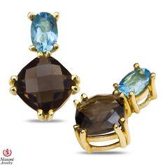 Ebay NissoniJewelry presents - Ladies Earrings with Blue Topaz and Smokey Quartz in 10k Yellow Gold    Model Number:E8396-Y0BTSMQ    http://www.ebay.com/itm/Ladies-Earrings-with-Blue-Topaz-and-Smokey-Quartz-in-10k-Yellow-Gold/321612033825