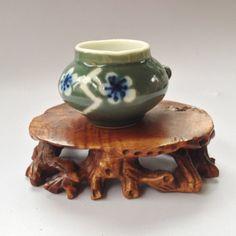 Vintage Chinese  Porcelain Birdfeeders  Green by BluePearEmporium