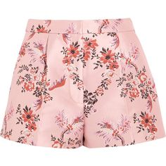 Stella McCartney Floral-jacquard shorts (10,020 MXN) ❤ liked on Polyvore featuring shorts, bottoms, pink, pink floral shorts, woven shorts, pink shorts, colorful shorts and flower print shorts
