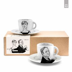 House of Cards cups set - Claire, the best dressed and Francis, the mastermind. Set of two cups + plates, made of porcelain and just right for that morning espresso.
