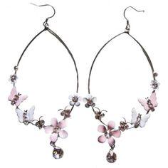 Butterfly And Flower Drop Earrings In Pink