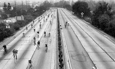 Cycling the Freeway/ Original Los Angeles by stripeycity on Etsy, $20.00