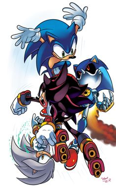 Sonic, Shadow, Silver, and Metal Sonic