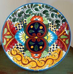 "Vintage Porcelain TALAVERA Pottery Round Plate 11"" Smooth Rim Mexican Folk Art ESTATE FIND"