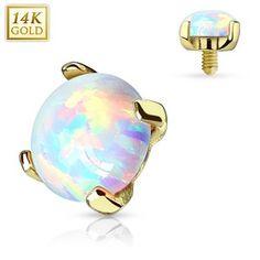 Dermal Anchor Aufsatz Hautanker Piercing 14 kt 585er Gold mit Opal Piercings Kugeln & Aufsätze