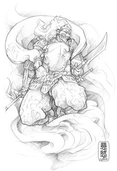 Samurai sketch for tattoo