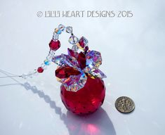 Swarovski Crystal 40mm FINEST Ball Bordeaux RED Large Pineapple Ornament with 20mm Large AB and Red Leaves  Lilli Heart Design by LilliHeartDesigns on Etsy