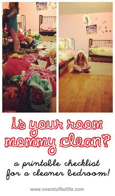 Is your room mommy clean--a printable checklist for a cleaner bedroom. #overstuffedlife