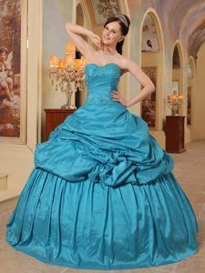 Turquoise Ball Gown Sweetheart Floor-length Taffeta Beading Quinces Dresses