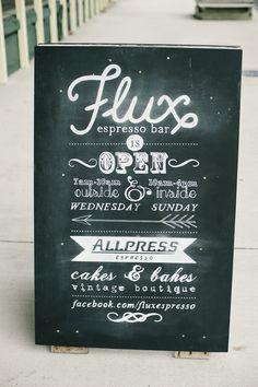chalk sandwich board design - facebook.com/fluxespresso