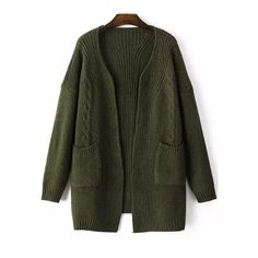 Long Sleeve Pockets Green Coat ($20) ❤ liked on Polyvore featuring outerwear, coats, green, long sleeve coat, cocoon coat and green coat