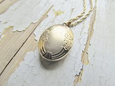 Vintage Locket/ 14k Gold Filled Oval Locket with by LUXXORVintage, $48.00