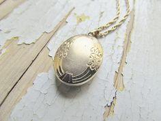 Vintage Locket/ 14k Gold Filled Oval Locket with by LUXXORVintage, $48.00