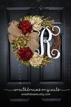 NEW Burgundy & Cream Hydrangea Wreath. Pip Berry by WreathDreams