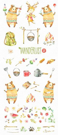 Wanderlust 2. Picnic. Watercolor animals clipart bear food