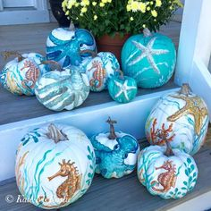 Painted Pumpkins with a Coastal, Beach & Nautical Theme - Coastal Decor Ideas Interior Design DIY Shopping Fall Crafts, Holiday Crafts, Holiday Fun, Holiday Decor, Halloween Pumpkins, Fall Halloween, Halloween Crafts, Classy Halloween, Happy Halloween