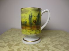 Vintage Handpainted Scenic Porcelain Tall Mug D Brownsword Gold White Waterway by NewOxfordVintage on Etsy