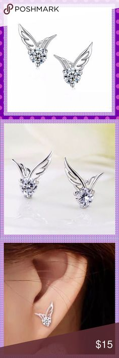 Dainty Angel Wing Crystal Earrings Studs LAST PAIR!!ADORABLE & Dainty Silver Alloy Angel Wing Stud Pierced Earrings with Cubic Zirconia Stones. So cute and adorable and the sparkle will get noticedBacks and Posts are 925 Sterling SilverCOME IN JEWELRY BOX Boutique Jewelry Earrings