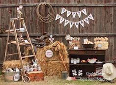 Cowboy Party Ideas Use wooden ladder! Rodeo Birthday, Horse Birthday Parties, Cowboy Birthday Party, Farm Birthday, Pirate Party, Petting Zoo Birthday Party, Country Birthday Party, Birthday Bash, Birthday Ideas