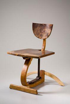 """Chair- 895  Garry Knox Bennett  2005  30"""" x 24 1/2"""" 21""""  Walnut, maple, cherry"""