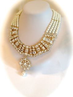 Vintage Crystal and Pearl Collar Estate by WOWTHATSBEAUTIFUL