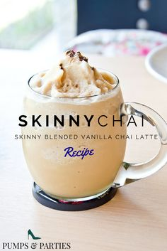 Amazing Blended Skinny Chai Recipe! If you love frappuccino's and you love chai lattes then you will love this drink. Follow www.pumpsandparties.com for more recipes and lifestyle tips. #pumpsandparties
