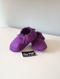Baby Moccasins, Purple, Ready to Ship, size 6-12 months on Etsy, $18.00
