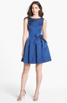 8181769a841 Isaac Mizrahi New York Mikado Fit   Flare Dress Blauwe Bruidsmeisjesjurken