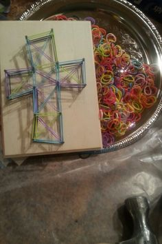 Have the supplies for these crosses at home: Nails in shape of cross, use rubber bands                                                                                                                                                      More