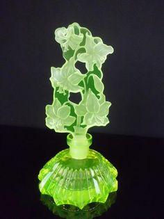 Bohemian Vaseline Art Deco Glass Czech Perfume Bottle   eBay  US $129.00