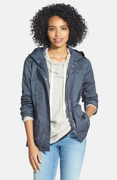 Caslon® Cotton Twill Hooded Jacket (Regular & Petite) available at #Nordstrom