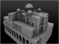 Reconstitution 3D de l'Eglise de la Néa, Constantinople, construite sous Basile…
