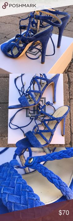 Cobalt blue Hera suede lace up heels Ivanka Trump Hera cobalt blue suede heels. Size 8. Heel height is 5 inches. Ties can either be tied in the back of ankle or tie in bow in front. No scuffs on heels. I purchased last year at Nordstrom.  Pretty heels, their just too high for me now. Ivanka Trump Shoes Heels