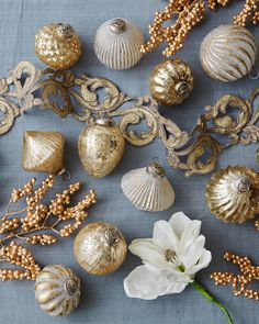 Inspired by antique French baubles, these handcrafted ornaments are reminiscent of the subtlety and sophistication of French design. French Christmas Tree, Country Christmas Ornaments, Rose Gold Christmas Decorations, French Country Christmas, Very Merry Christmas, Christmas Things, Country French, Pink Christmas, Christmas Trees