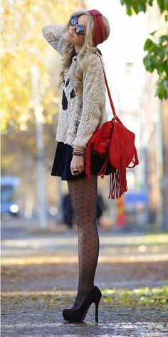 Lovely street style with polka dot stockings