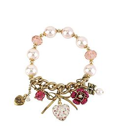 Betsey Johnson Puff Heart Stretch Bracelet Boxed Gift #Dillards