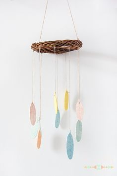 DIY air-drying clay feathers mobile