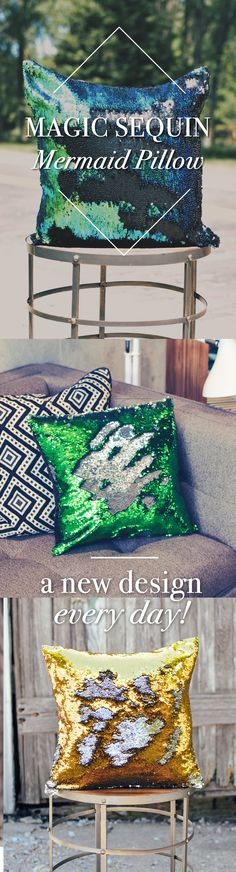 MAGIC Sequin Mermaid Pillow   Create new designs everyday ~ 15 colors to choose from and endless possibilities for designs.