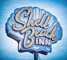 Retro motel sign.  Shell Beach Inn, Pismo Beach, CA