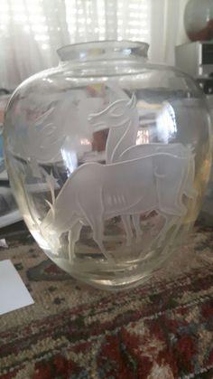 Heel bijzondere Copier vaas zonder krasjes in mint conditie glasschool leerdam mooie gravering ca 1948