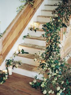 Greenery and Candles on Staircase | photography by http://matolikeelyphotography.com/