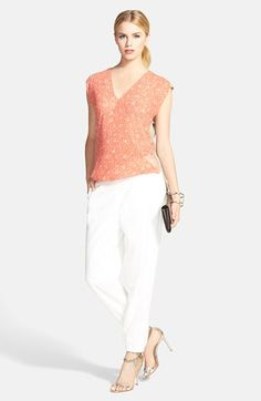 cute top. Bailey 44 Cap Sleeve Top & Trouvé Pleated Pants  available at #Nordstrom