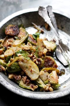 Brussels Sprouts Salad with Apples and Candied Walnuts | www.diethood.com | A delicious side dish of brussels sprouts tossed together with tart apples and garnished with candied walnuts. | #brusselssprouts #thanksgivingrecipes #sidedish #vegetarian