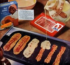 fun breakfast/brunch. just fry the bacon and then pour your favorite pancake batter over and make the cakes. mmm.